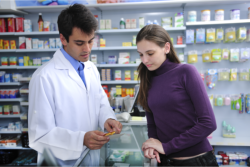 pharmacist assisting the customer